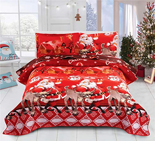 JARSON Christmas Quilt Bedspreads King Size Lightweight Coverlet Set,3D Santa Claus Deer Printed Quilts Set Reversible Bedding Cover New Year's Decoration,Red