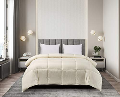 Blue Ridge Home Fashions Microfiber Down Alternative All Season Comforter-Hypoallergenic Polyester Fill, Full/Queen, Ivory