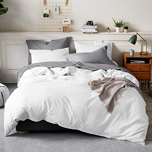 Bedsure 100% Washed Cotton Duvet Cover Sets Queen Full Size White Bedding Set 3 Pieces 1 Duvet Cover + 2 Pillow Shams