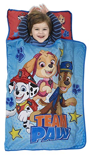 Includes Pillow & Fleece Blanket – Fits Sleeping Toddlers and Young Children – Paw Patrol Team Paw Toddler Nap Mat – Great for Boys and Girls Napping at Daycare, Preschool, Or Kindergarten