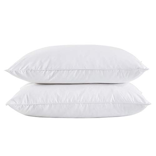 puredown King Size Soft Down Feather Bed Pillows Sleeping Washable-King Size-2 packs-100% Cotton Cover
