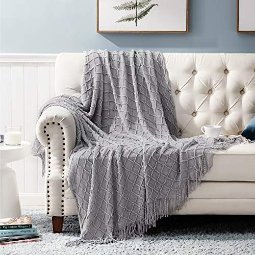 All Seasons Suitable for Women, Men and Kids Grey – Bedsure Throw Blanket for Couch, Knit Woven Blanket, 50×60 Inch – Cozy Lightweight Decorative Blanket with Tassels for Couch, Bed, Sofa, Travel