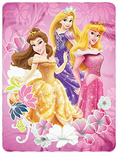 "Disney Princesses, ""Shining Flowers"" Fleece Throw Blanket, 45″ x 60, Multi Color"