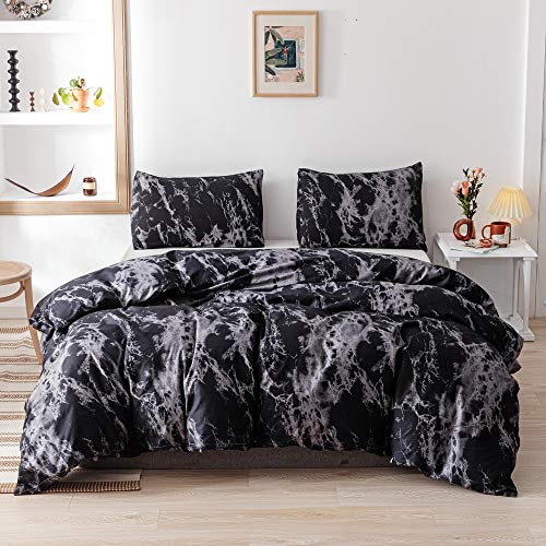 Smoofy Queen Comforter Set, Black Marble Pattern Printed Bed Comforter, Soft Fabric with Brushed Microfiber Fill Bedding1 Comforter, 2 Pillow Shams
