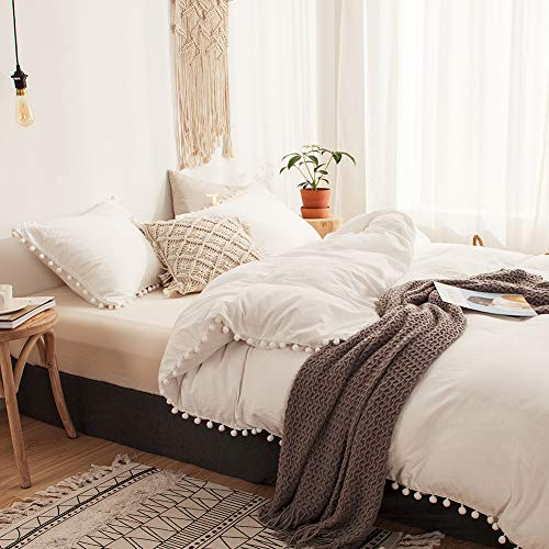 MOVE OVER 3 Pieces White Bedding Offwhite Duvet Cover Set Ball Fringe Pattern Design Soft Off White Bedding Sets Queen 1 Duvet Cover 2 Ball Lace Pillow Shams Queen, Offwhite