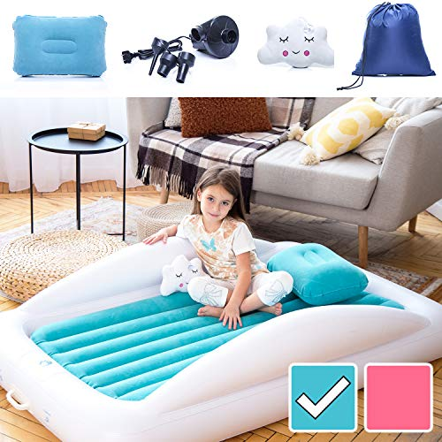 Inflatable & Portable Bed Air Mattress Set -Blow up Mattress for Kids with High Safety Bed Rails. Set Includes Pump, Case, Pillow & Plush Toy Aquamarine – Sleepah Inflatable Toddler Travel Bed
