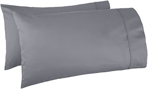 Standard, Dark Grey – AmazonBasics 400 Thread Count Pillow Cases
