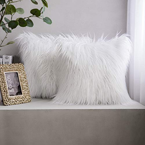 Phantoscope Pack of 2 Luxury Series Throw Pillow Covers Faux Fur Mongolian Style Plush Cushion Case for Couch Bed and Chair, White 18 x 18 inches 45 x 45 cm
