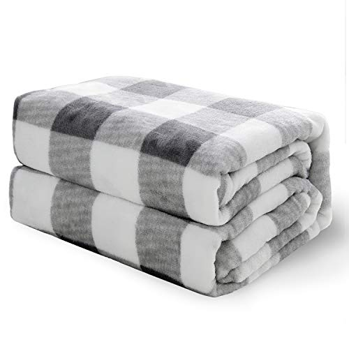 Bed Blanket for Bed, Couch, Car, Office, Camping Travel and Gifts – Twin Size, 60 x 80 inches, Black and White – Bedsure Flannel Fleece Blanket – Printed Plaid