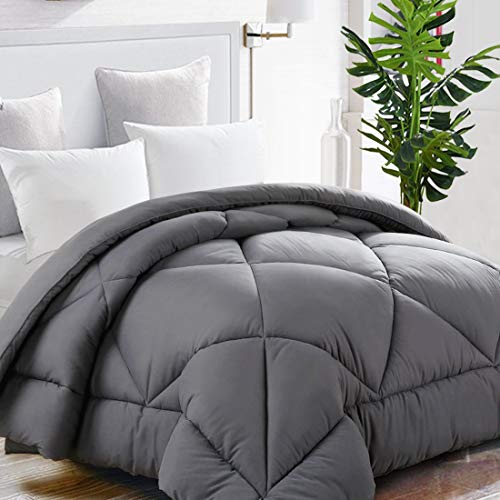 TEKAMON All Season Oversized Queen Comforter Winter Warm Soft Quilted Down Alternative Duvet Insert with Corner Tabs, Fluffy Reversible Hotel Collection, Charcoal Grey, 98 x 98 inches