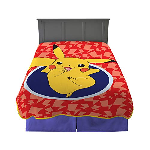 Franco Kids Bedding Super Soft Plush Microfiber Blanket, Twin/Full Size 62″ x 90″, Pokemon Pikachu