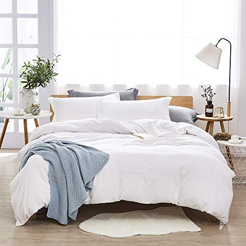 Dreaming Wapiti Duvet Cover King, 100% Washed Microfiber 3pcs Bedding Set,Solid Color – Soft and Breathable with Zipper Closure & Corner Ties White