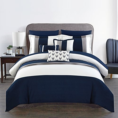Chic Home Ayelet 10 Piece Comforter Set Color Block Ruffled Bag Bedding, Queen, Navy