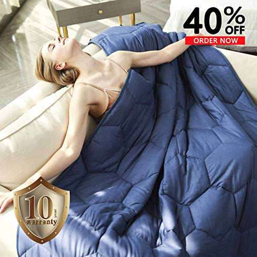 YEMYHOM 100% Cotton Weighted Blanket Adult Bed Heavy Blankets with Glass Beads 60″x80″ 15 lbs, Blue