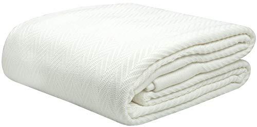 Threadmill Home Linen Herringbone Soft Breathable 100% Pure Cotton Blanket Full/Queen Size White