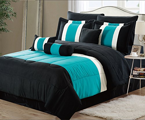 EMPIRE 8-Piece Oversized Teal Blue & Black Comforter Set Bedding with Sheet Set Queen