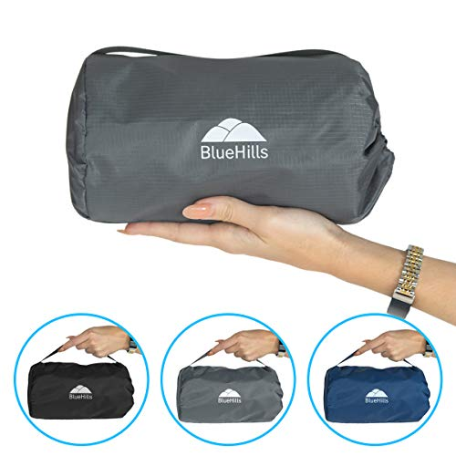 BlueHills Ultra Compact Travel Blanket Pillow in Portable Bag Case with Hand Luggage Belt & Backpack Clip Premium Cozy Soft Compact Pack Large Blanket for Airplane Flight Layover Grey – Gray C002