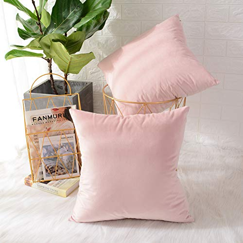 MERNETTE Pack of 2, Velvet Soft Decorative Square Throw Pillow Cover Cushion Covers Pillow case, Home Decor Decorations for Sofa Couch Bed Chair 18×18 Inch/45×45 cm Light Pink