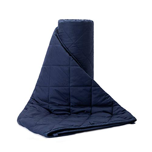 BUZIO Weighted Blanket 20 lbs for Adults 190-240 lbs, Cotton Blanket with Premium Glass Beads, 60 x 80 Inches, Navy Blue