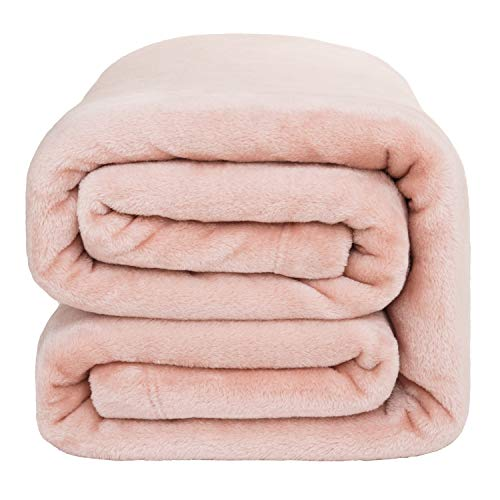 Soft, Plush, Warm Blanket for All Season, Thick Blanket for Couch Sofa Bed Traveling – Reversible Bed Blankets – Bedsure Flannel Fleece Blanket 350GSM – King Blanket 108×90 inches, Coral Pink